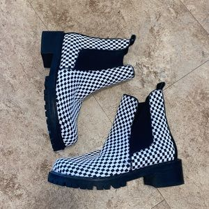 Gingham Chelsea boots